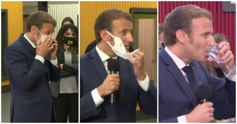 Dangerosité du port du masque : Macron manque de s'étouffer devant des lycéens à cause de son masque …